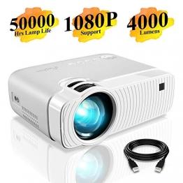 Proiettore Elephas Portatile da 4000 lumen,Lampada con Durata di 50000 Ore, Proiettore Video a LED, Supporta il Video 1080P, Compatibile con Ingressi USB/HD/SD/AV/VGA per Home Theater - 1