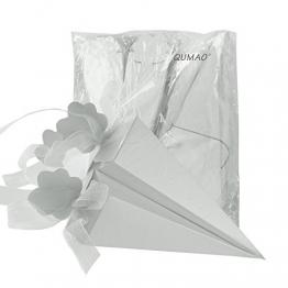 QUMAO 100pz Portariso Scatole Portaconfetti Scatoline Incluso Nastri Come Bomboniere Segnaposti per Matrimonio Nozze (Bianco) - 1