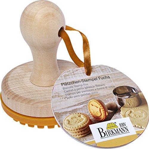 RBV Birkmann volpe 340350 Timbro per biscotti in Silicone e legno, diametro 7 cm, colore: arancione - 1