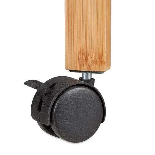 Relaxdays bambù, Carrello Portavivande da Portata, Bambã¹, con Portabottiglie, Marrone, 70 x 40.5 x 65 cm - 1