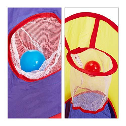 Relaxdays Piscina 100 Palline con Tunnel, 3 Pezzi, Indoor & Outdoor, da 3 Anni in su, Tenda Giocattolo per Bambini, Multicolore, 1,0 X 3,0 X 1,4 M 10024761 - 1