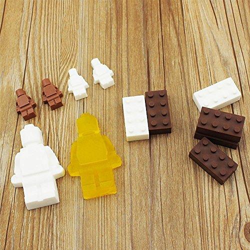 Robot stampo in silicone cubetti di ghiaccio, caramelle, cioccolatini, stampi per bambini party e cottura Minifigure Building Block temi, set di 6pezzi - 1