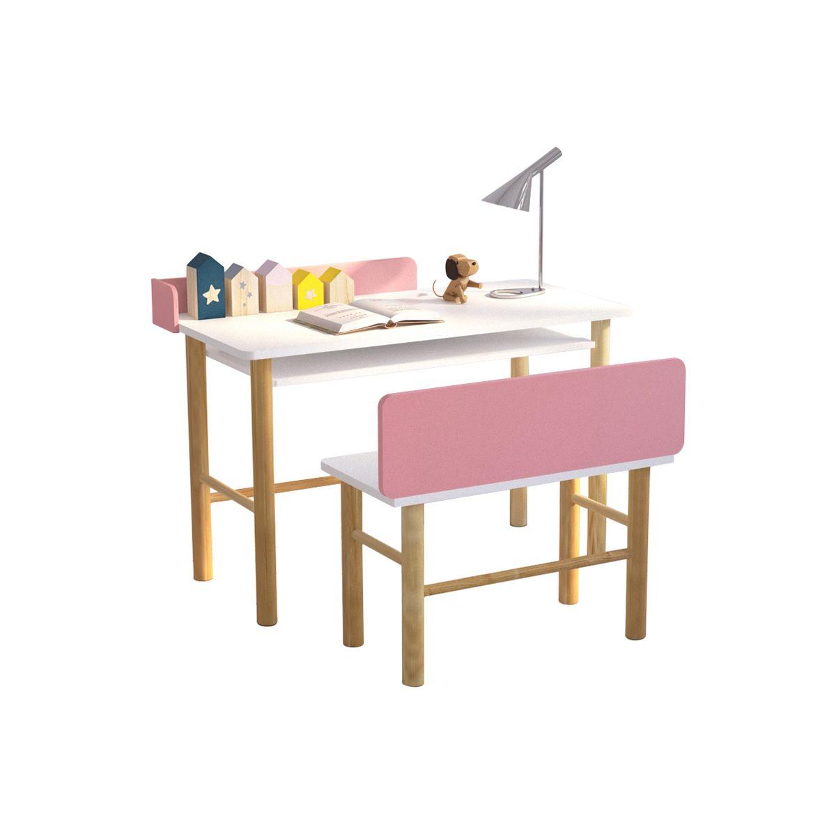 Scrivania bambino con banco rosa e legno chiaro BERTY Offerte e sconti
