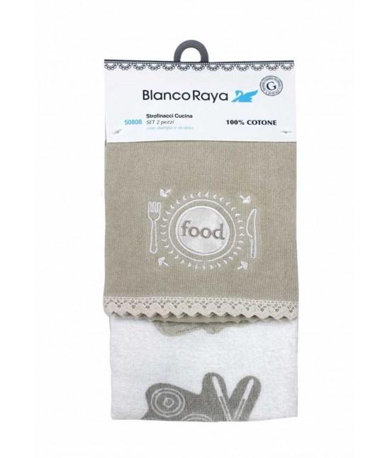 Set 2 strofinacci da cucina con ricamo - 50808-1.. Tessuto Cotone, Misura Set 2 pz, Variante Fodd