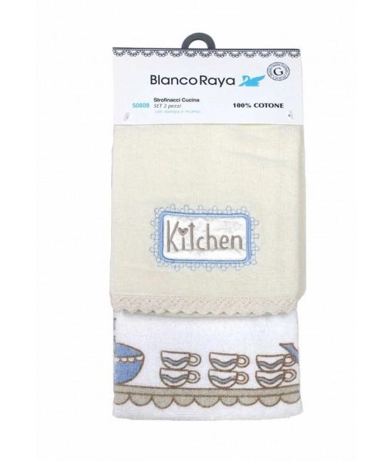 Set 2 strofinacci da cucina con ricamo - 50808-1.. Tessuto Cotone, Misura Set 2 pz, Variante Kitchen