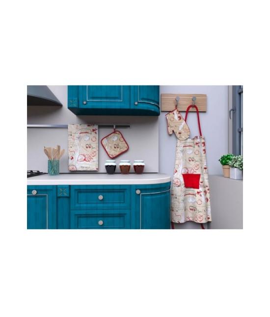 Set cucina grembiule/guanto forno/presina/strofinaccio in twill di puro cotone - k130449.. Tessuto Cotone, Misura Set 4 pz, Variante Bon appetit