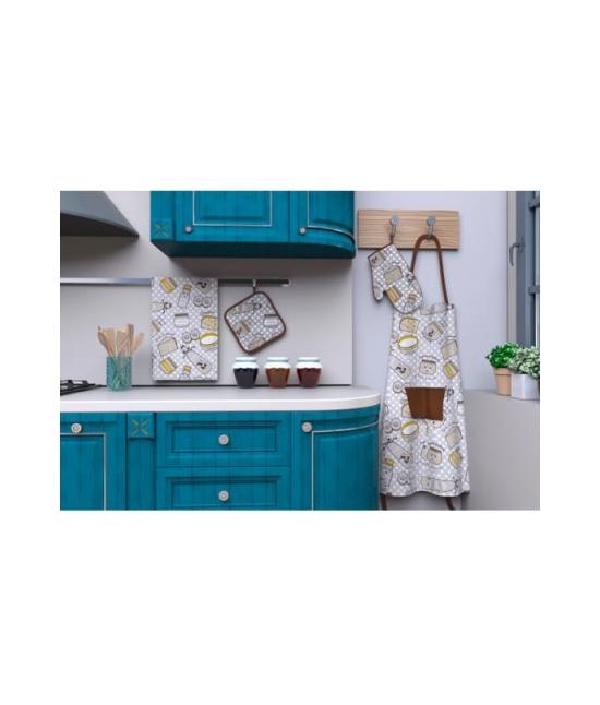 Set cucina grembiule/guanto forno/presina/strofinaccio in twill di puro cotone - k130449.. Tessuto Cotone, Misura Set 4 pz, Variante Milk