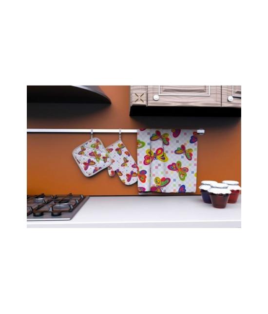 Set cucina guanto forno/presina/strofinaccio in twill di puro cotone - hmta012. Tessuto Cotone, Variante Fly, Misura Set 3 pz