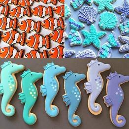 Set di 8 formine per biscotti a forma di coda di sirena/balena, delfino, Octopus, meduse, pesce pagliaccio, cavalluccio marino, stella marina e conchiglia marina a forma di animale marino - 1