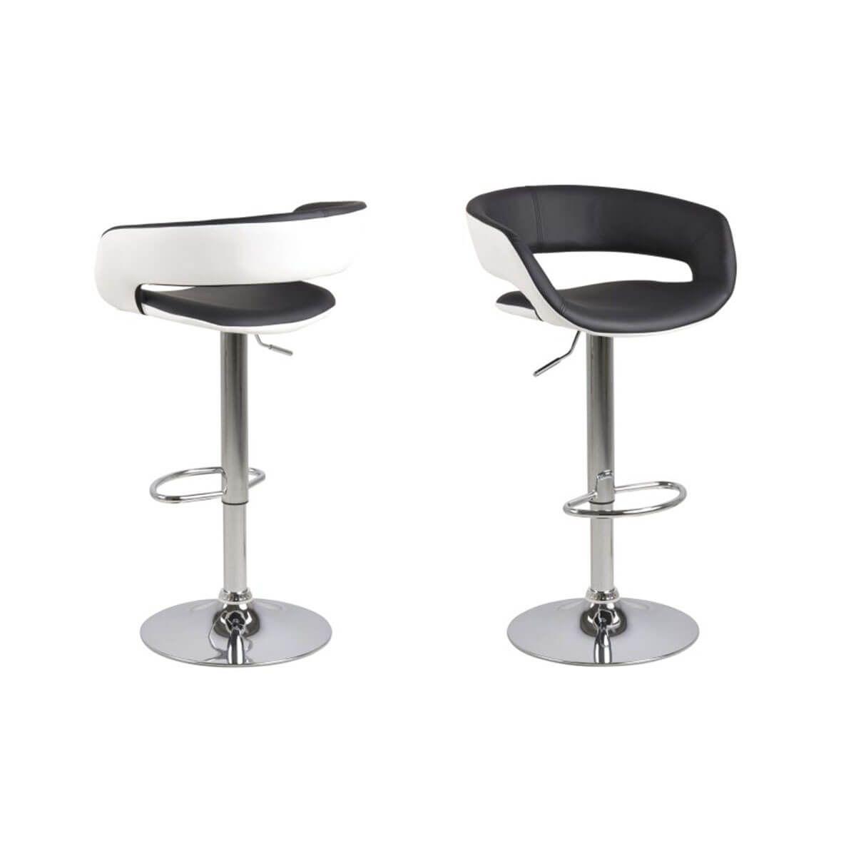 Sgabelli da bar design set di 2 nero e bianco eco pelle GRAVIT V2 Sgabelli da bar