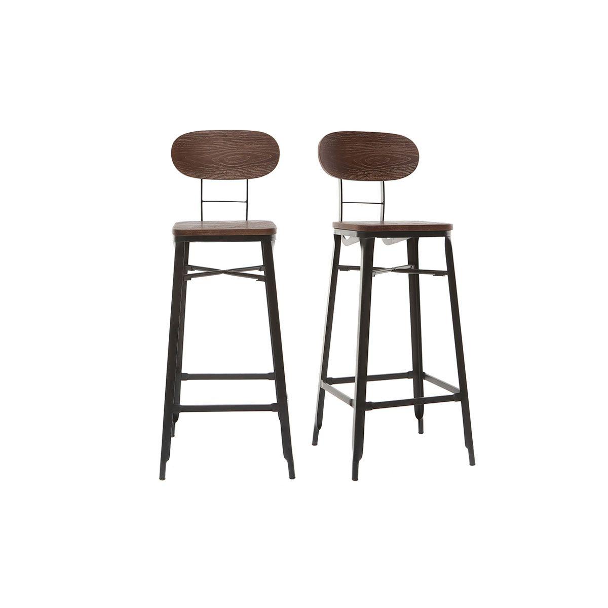Sgabelli da bar in legno e metallo Nero altezza 75 cm lotto di 2 HOCKER Sgabelli da bar