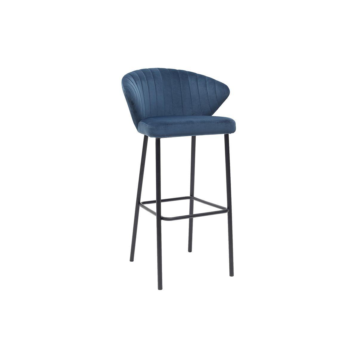 Sgabello da bar design in velluto blu 75 cm DALLY Offerte e sconti