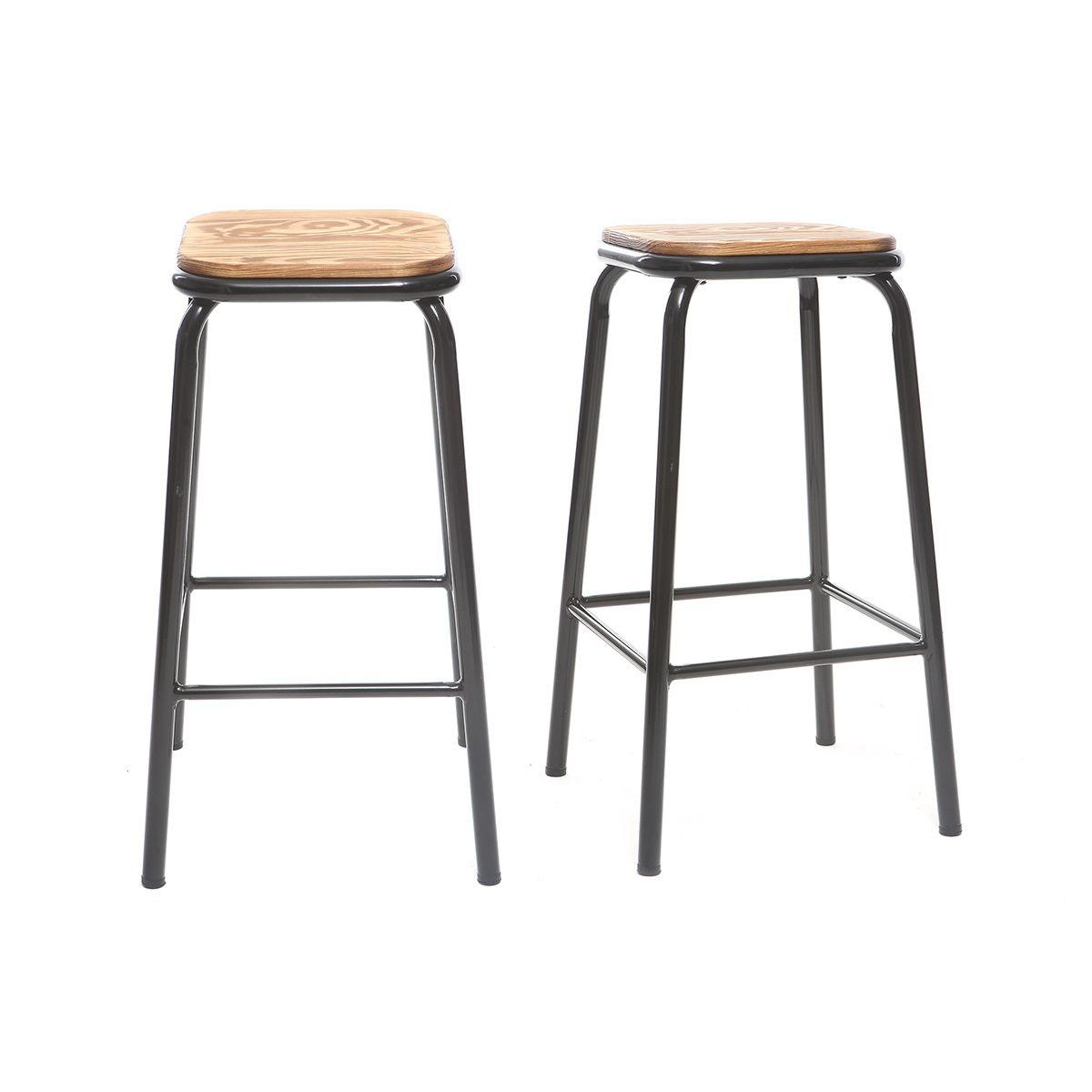 Dove acquistare Sgabello da bar design Nero e legno scuro 65 cm lotto di 2 MEMPHIS