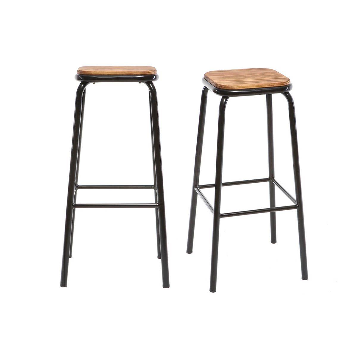 Sgabello da bar design nero gruppo di 2 H75cm MEMPHIS Sgabelli da bar
