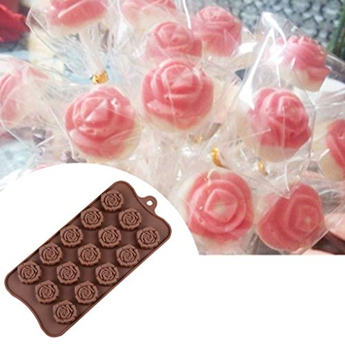 Silicone 15rose a forma di fiore cioccolato stampi per dolci, cake Decorating Tools Jelly Ice stampi Kakiyi - 1