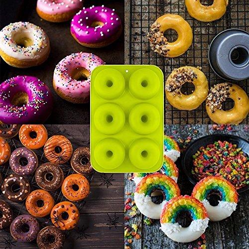 Silicone donut stampi 2confezione 6stampi antiaderenti Safe teglia Maker pan al calore senza BPA donut Mold muffin tazze anello biscotto stampo per dolci e biscotti Bagels by Meiso - 1