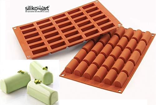 silikomart 26.129.00.0060 SF129 - Stampo per Mini Dolce a Tronchetto, 30 spazi, in Silicone, Colore Terra Cotta - 1