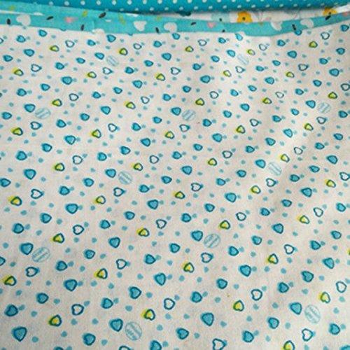SODIAL 7 pezzi 50cm * 50cm cotone piccolo stampato floreale tessuto di cotone per stoffa per cucire patchwork quilting fatti a mano tessuti DIY(Blu chiaro) - 1