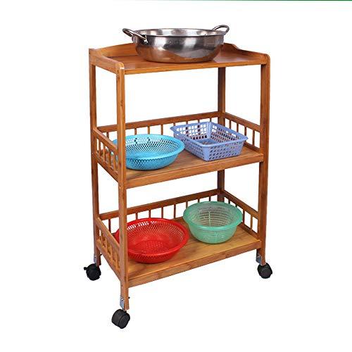 sogesfurniture Carrello Cucina in Legno di bambù con 3 Ripiani, Multiuso Carrello Bamboo Portavivande Carrello da Portata, KS-ZC05-BH - 1