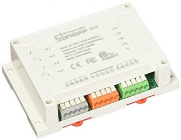 Sonoff 4CH- 4 Canali Montaggio su barra DIN Interruttore Wi-Fi per Realizzazione Impianto Domotica Fai-Da-Te (Smart Home DIY), Controllo Remoto di Quattro Elettrodomestici Indipendenti - 1