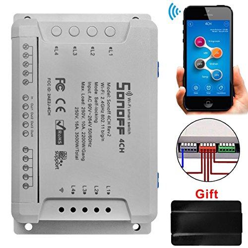 Sonoff 4CH Pro R2 WiFi Interruttore Intelligente Wireless 4 Gang Inching/Self-Locking/Interlock RF Smart Switch con Funzione di Temporizzazione per Amazon Alexa, Google Assistant, IFTTT, Google Nest - 1
