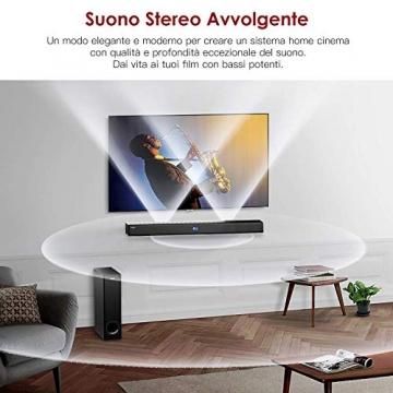 SoundBar con Subwoofer, ABOX 120W Altoparlante 2.1 Canali, Sistema Home Cinema Suono Surround 110db Bluetooth 4.2 a Wireless & Cablata Compatibile TV/Cellulare/PC per Casa/Bar/Montaggio a Parete - 2