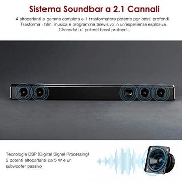 SoundBar con Subwoofer, ABOX 120W Altoparlante 2.1 Canali, Sistema Home Cinema Suono Surround 110db Bluetooth 4.2 a Wireless & Cablata Compatibile TV/Cellulare/PC per Casa/Bar/Montaggio a Parete - 3