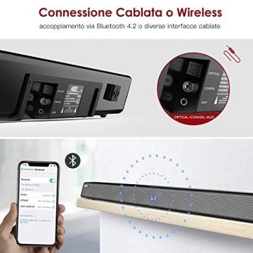 SoundBar con Subwoofer, ABOX 120W Altoparlante 2.1 Canali, Sistema Home Cinema Suono Surround 110db Bluetooth 4.2 a Wireless & Cablata Compatibile TV/Cellulare/PC per Casa/Bar/Montaggio a Parete - 4