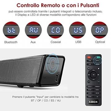SoundBar con Subwoofer, ABOX 120W Altoparlante 2.1 Canali, Sistema Home Cinema Suono Surround 110db Bluetooth 4.2 a Wireless & Cablata Compatibile TV/Cellulare/PC per Casa/Bar/Montaggio a Parete - 5