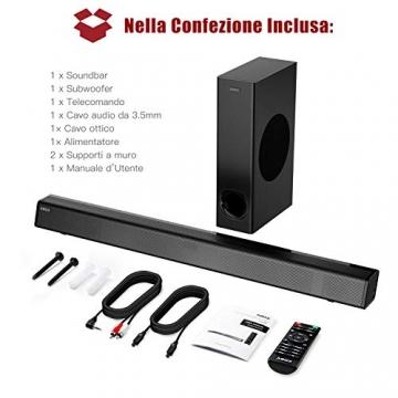 SoundBar con Subwoofer, ABOX 120W Altoparlante 2.1 Canali, Sistema Home Cinema Suono Surround 110db Bluetooth 4.2 a Wireless & Cablata Compatibile TV/Cellulare/PC per Casa/Bar/Montaggio a Parete - 6