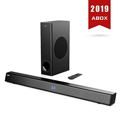 SoundBar con Subwoofer, ABOX 120W Altoparlante 2.1 Canali, Sistema Home Cinema Suono Surround 110db Bluetooth 4.2 a Wireless & Cablata Compatibile TV/Cellulare/PC per Casa/Bar/Montaggio a Parete - 1