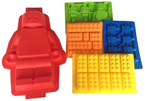 Stampo in silicone per cubetti di ghiaccio, motivo Lego, set da 5 - 1