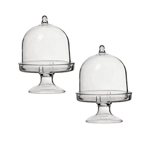 STOBOK 12pcs Mini alzata torta campana Campana di Vetro con piatto matrimonio Party Piatto da portata (trasparente) - 1