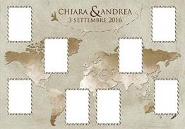 Tableau de mariage matrimonio - tema viaggio mappamondo cartina vintage nozze disponibile in tutte le tonalità di colore e con qualsiasi sfondo - 1