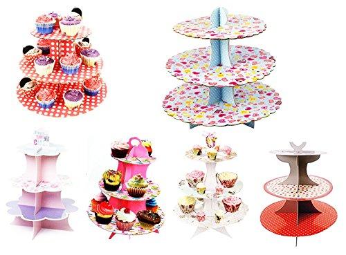 takestop® Alzata Stand 3 Livelli 16x22.5x30 CM in Cartone Carta Albero Supporto per Cup Cake Cupcake Muffin Dolce Fantasia Casuale - 1