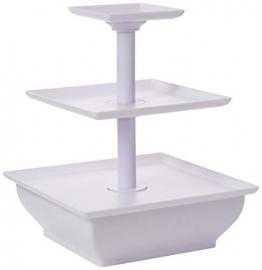 Taylor & Brown®, alzata a 3 ripiani in plastica bianca. Alzata per cupcake; ideale per matrimoni - 1