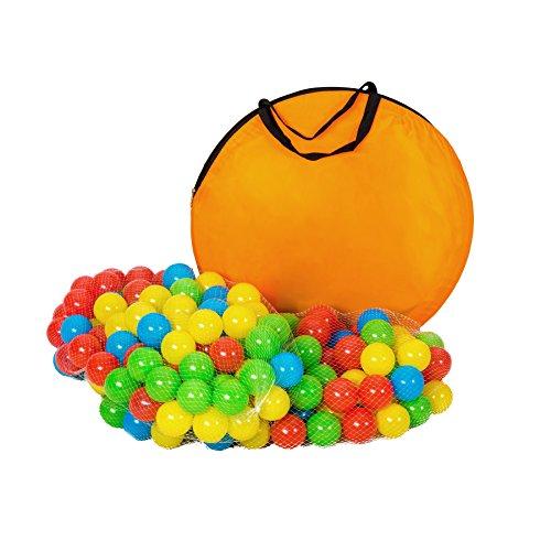 TecTake Tenda Igloo per bambini con tunnel + 200 palline + tenda tascabile – Tenda da gioco con palline per bambino - disponibile in diversi colori - (multicolore 1 | 401027) - 1
