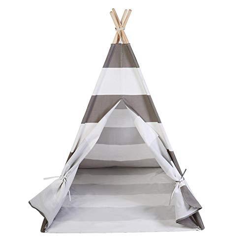 Tenda Indiana Tepee da Gioco per Bambini,Bambini Indiani Attivo Stampa e tintura di Cotone Tela Tenda,indiano Cotton Canvas Teepee tenda del gioco per i bambini,120X120X145cm (grigio e bianco) - 1