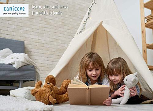 Tenda Teepee in Tela per Bambini (Naturale), in Cotone Robusti Paletti in Legno di Pino e Bandiere Divertenti - per 2 Bambini, Interno ed Esterno, Ragazzi e Ragazze - 1