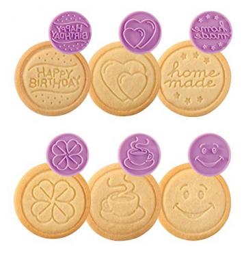 Tescoma Delicia Timbro per Biscotti Decori Party, Silicone Set 6 Pezzi, Viola, 12,5 cm x ∅ 5,5 cm - 7