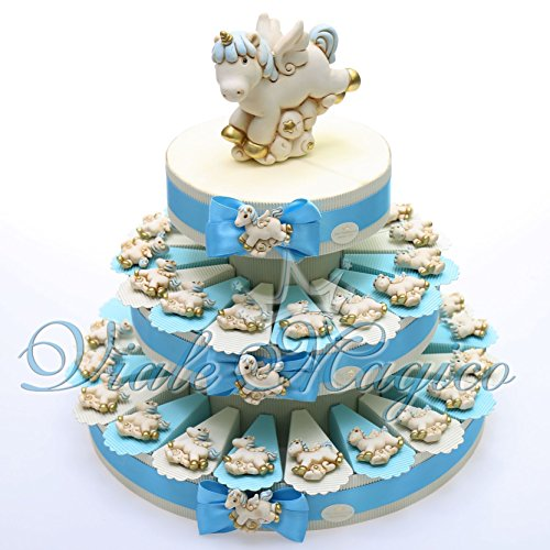 Torta Portaconfetti Magnete Unicorno Celeste (35 Pezzi) - 1