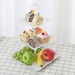 Tre strati di frutta piastra supporto alzata per torta di verdure Storage rack Tea Party piatto da portata per dessert cupcake White di Futurepast, White, Square - 1