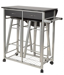 ts-ideen Set 3 pezzi Carrello Portavivande con ripiano estendibilee 2 sgabelli in Alluminio e MDF color Nero per Cucina o Sala da Pranzo - 1