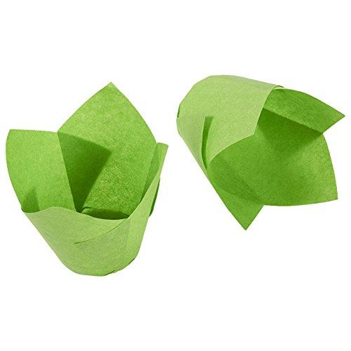 Tulip cupcake Liners, 150pezzi, pirottini per muffin tazze–Medium––perfetto per panifici, catering, ristoranti, verde - 1