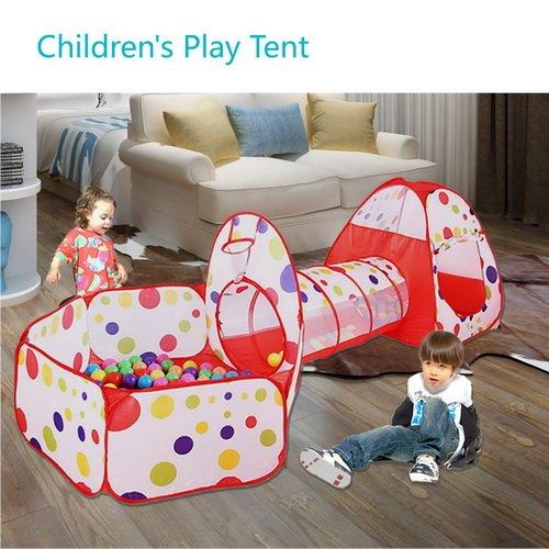 Tunnel con Palline Bambini - MAIKEHIGH Indoor / Outdoor Gioco e Play Tent Cubby Tube Tenda Canadese 3 in 1 Parco Giochi per Capretti del Bambino Giocattoli SFERE NON INCLUSA - 1