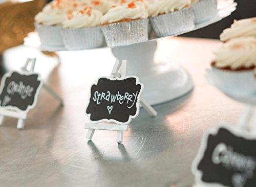 UCEC - Mini lavagna memorandum in legno con supporto e pannello per messaggio, set di 8con un pennarello con punta in feltro, per bacheche, segnaposto per matrimoni, feste, ristorante, caffè e bar - 1