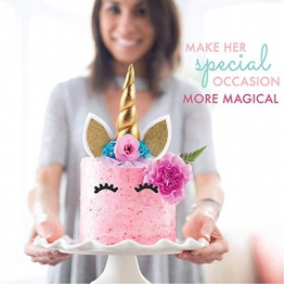 Unicorn Cake Topper Gold 3D con Ciglia e Unicorn Cupcake Topper Double Sided - Unicorn Party Decoration Set Bomboniera per Ragazze, Compleanno, Matrimonio e Baby Shower - 1