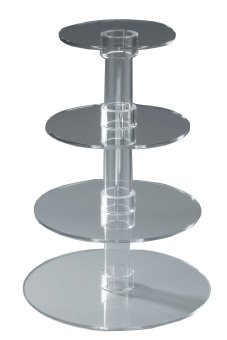 Utenlid® 4-Tier Stacked Party Cupcake and Dessert Tower - Clear Acrylic Cake Stand - 1