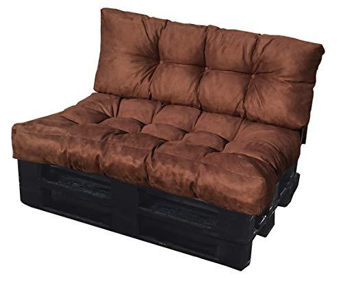 ValoreItalia Cuscino per Bancale Divano Pallet 80X120 Seduta e Schienale in Microfibra per Bancali (Marrone) - 1