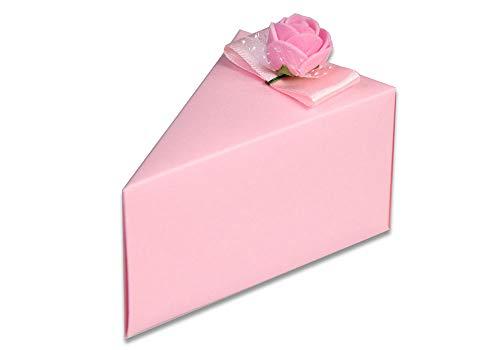 Vetrineinrete® Scatoline portaconfetti a Forma di Torta Rosa e Blu 3 Confezioni con Fiori 30 Pezzi per Battesimo Bimbo e Bimba in cartoncino con Nastro (Rosa) - 1